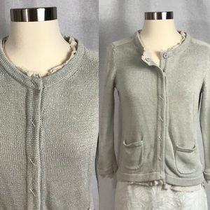 EUC✨ BODEN Grey Ruffle Trim Cardigan Sweater 6